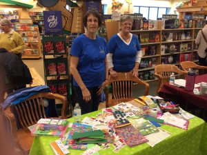 Quotarians Sarah and Sandi work the book mark craft table!